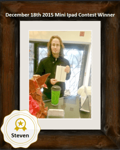 December 18th 2015 Mini IPad Contest Winner Steve Congratulations Steve